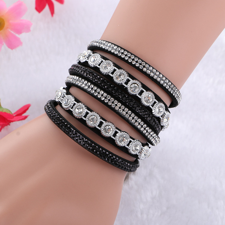 Luxury Hand Jewelry Double Layer Velvet Diamond Bracelet For Woman