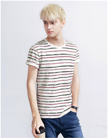 Wholesele China supplier high quality custom printing stripe men's softextile short sleeve t shirt made in 100% cotton