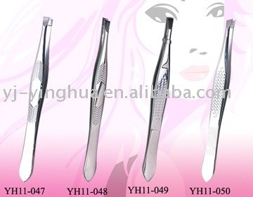 professional eyebrow tweezers with arrow lines stamping