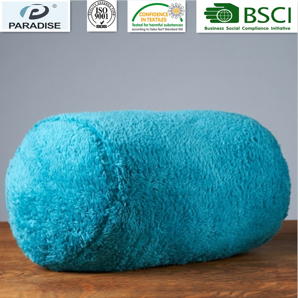 Decorative Extra-Fluffy Fabric In A Log Neckroll Pillow Peacock Color