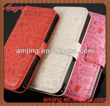 Factory price credit card slot wallet leather case for iphone 5