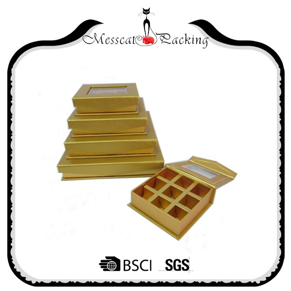 Custom made different size 300 gsm art paper golden gift box packaging for chocolate