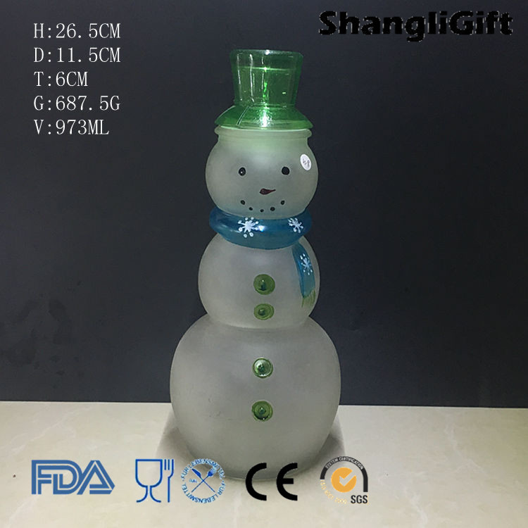 1L Large Snowman Shape glass candy jar