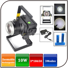 Zoomable10w IP65 1600lumen portable battery powered 3 modes aluminium emergency led rechargeable flood light