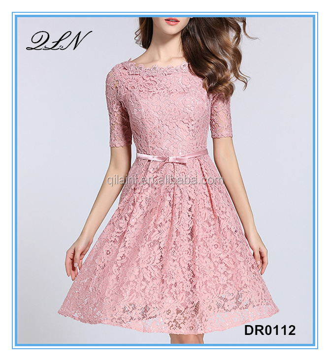 2017 women summer lace pink short sleeve dresses with zipper at back