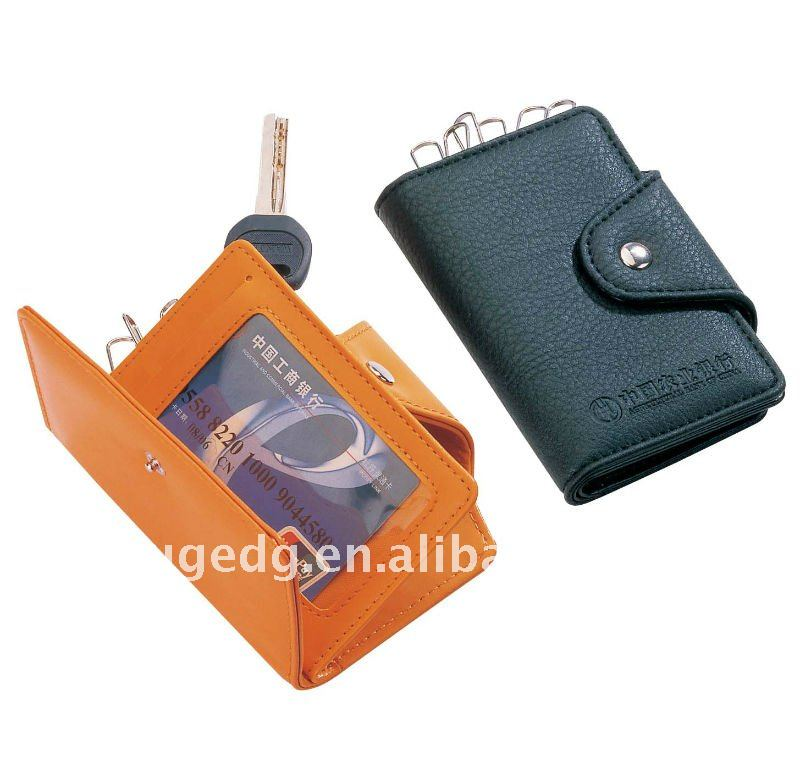 Mini multi-use leather credit card coin purse keychain key bags