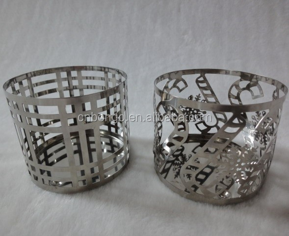 small chrome plated metal candle holder