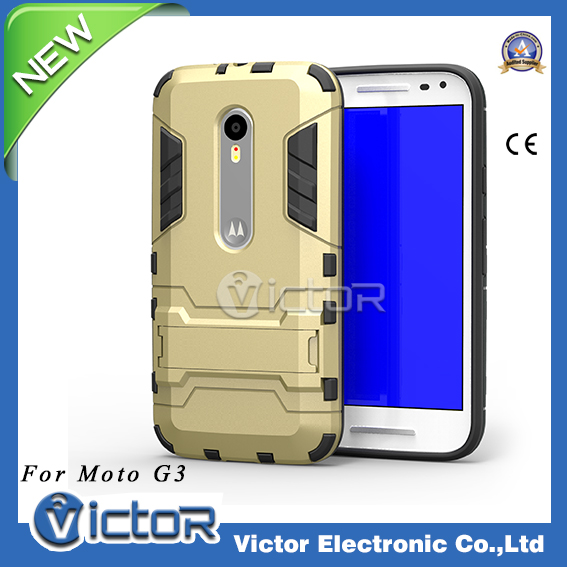 Stock available kickstand shockproof case for Motorola Moto G (3rd gen)