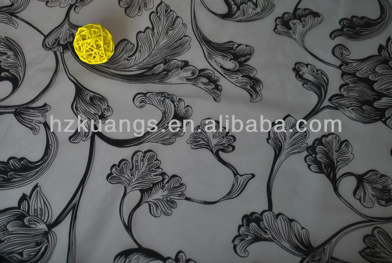 black flower bronzed organza for decorative