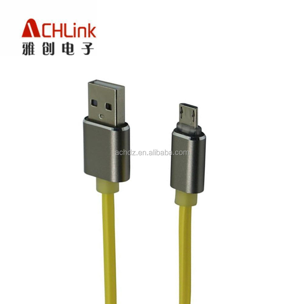 New design Orange Aluminum fluorescent usb cable for android phone micro usb cable aluminum ACHLINK Manufacturer good quality