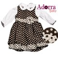 New baby girls 2 piece vintage brown dress and long sleeve shirt
