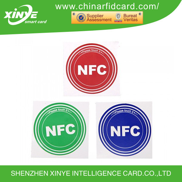 rfid mini nfc tag with the size is diameter 25mm provide printing serial number ID barcode logo