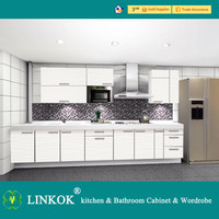 Linkok Furniture European style white high gloss UV acrylic with flower drawing pattern modern full set whole kitchen cabinet