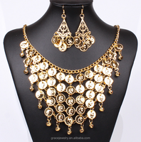 indian masculine exaggerate and statement alloy gold necklace set