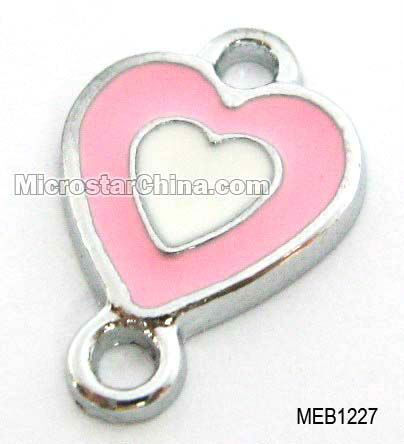 11*12mm Pink heart pendant connector for jewelry