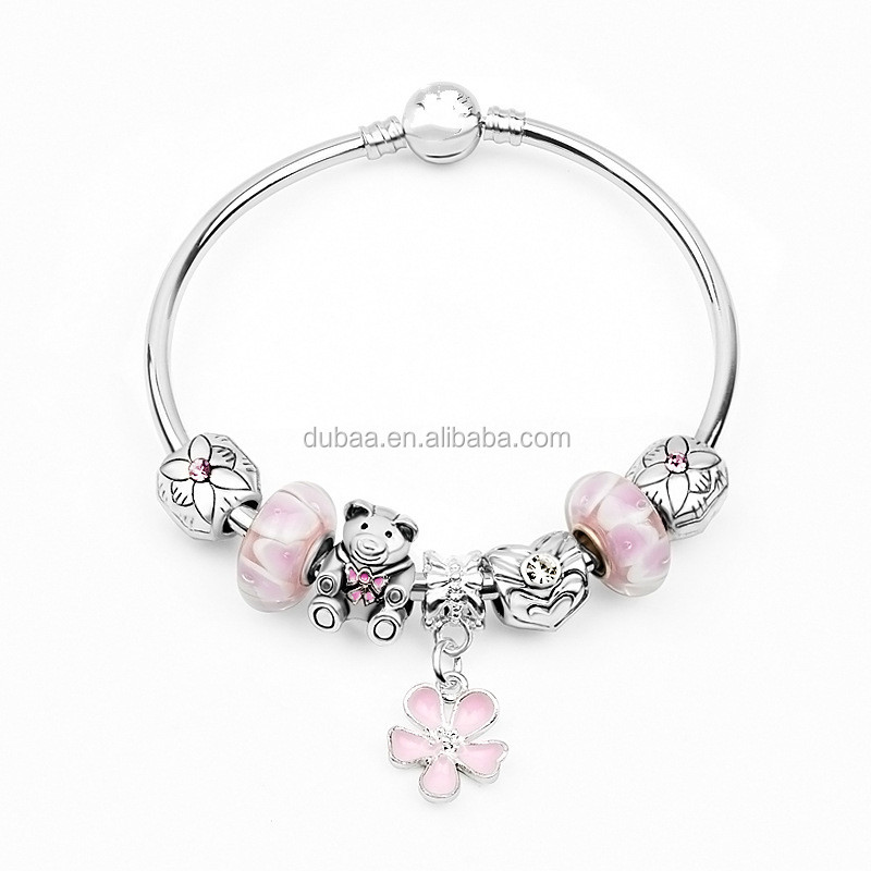 silver bangle charm bracelet with european charms