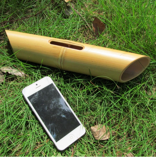 natural bamboo outdoor speaker for Iphone 7 plus,bamboo amplifier holder for phone