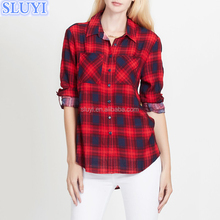 100% cotton women's shirts ladies fashion clothes red black plaid button down shirt long sleeve back neck design of blouse