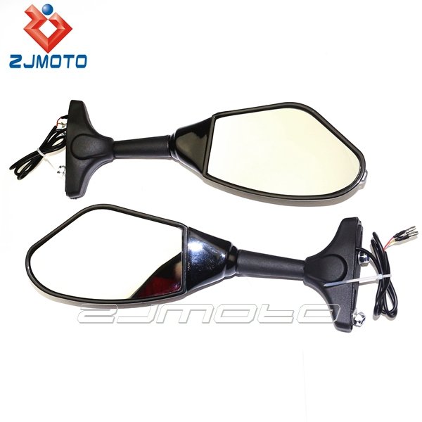 Motorcycle Mirror Integrated Turn signal Black Universal Reaview Side Mirrors ZJMOTO