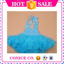 wholesale baby girls chevron dress summer American girls party dresses cheap petti dresses for girls