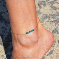 2017 Summer Gold Crystal Beaded Strand Chain Anklet for Girls