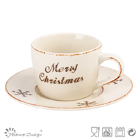 Christmas letter series designed coffee cup and saucer
