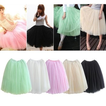 Fashion Princess Fairy Style 2 layers Voile Tulle maxi Skirt Bouffant Puffy fashion long skirts new style
