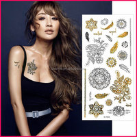 Factory supply custom fashionable jewelry flash temporary metallic glitter tattoo stickers sexy body sticker tattoos