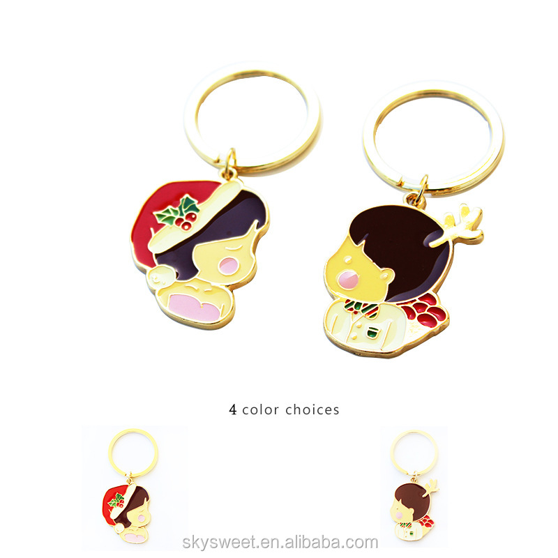 Christmas Keychain key rings,boy and girl shape cute cheap bulk promotional gift(PR878)