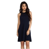 High quality women's Autumn Cashmere Mesh Flare Dress for Women Contrast knit front and back yoke