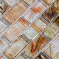ANTIQUE GLASS MOSAIC TILE WITH CLOUD EFFECT BRIGHT COLOR BRICK SIZE