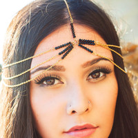 Bohemian Alloy Black Crystal Beaded Headband, 3-layered Gold Chain Indian Hair Accessories X8-H07