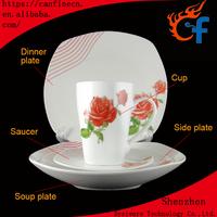 2017 new design porcelain 30pcs square dinner set