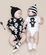 P0006 wholesale black and white bear romper baby clothes with good price
