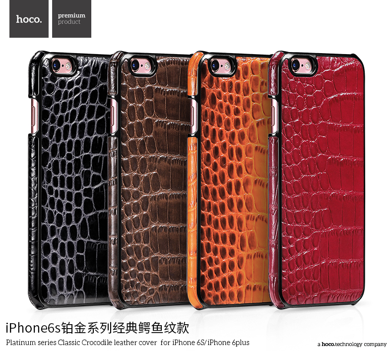 Classic Crocodile Leather Rubber Case for iPhone 6Plus HOCO Real Leather Cover Platinum Series Shell for iPhone 6s Plus MT-5810