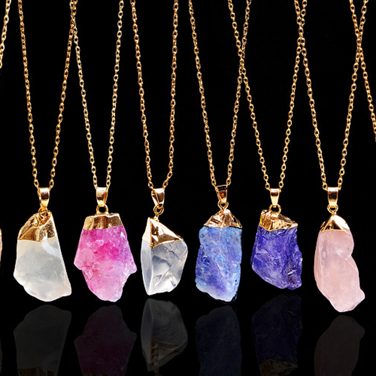 >>>2017 Fashion Amethyst Pendant Crystal Women Real Natural Stone Necklace