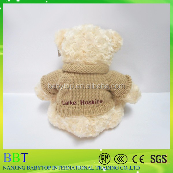 Promotional custom logo teddy bear with knitted t shirt soft stuffed custom plush bear teddy