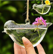 bird shape hanging glass crystal flower vase