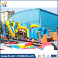 Digital printed robot style inflatable castle/inflatable jumping slide obstacle course for sale