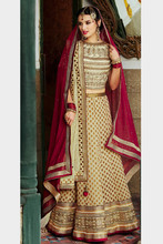 Off White & Red Designer Lehenga Choli