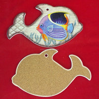 Printed Fish shaped ceramic trivet and wall decor