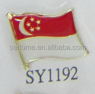Custom Made Singapore Flag Badge From Producer