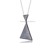 Retro black rhodium plated 925 silve cubic zirconia micro pave-set triangle shape necklace