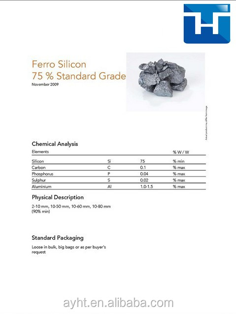 Ferro silicon fesi 75 used in casting iron &foundry