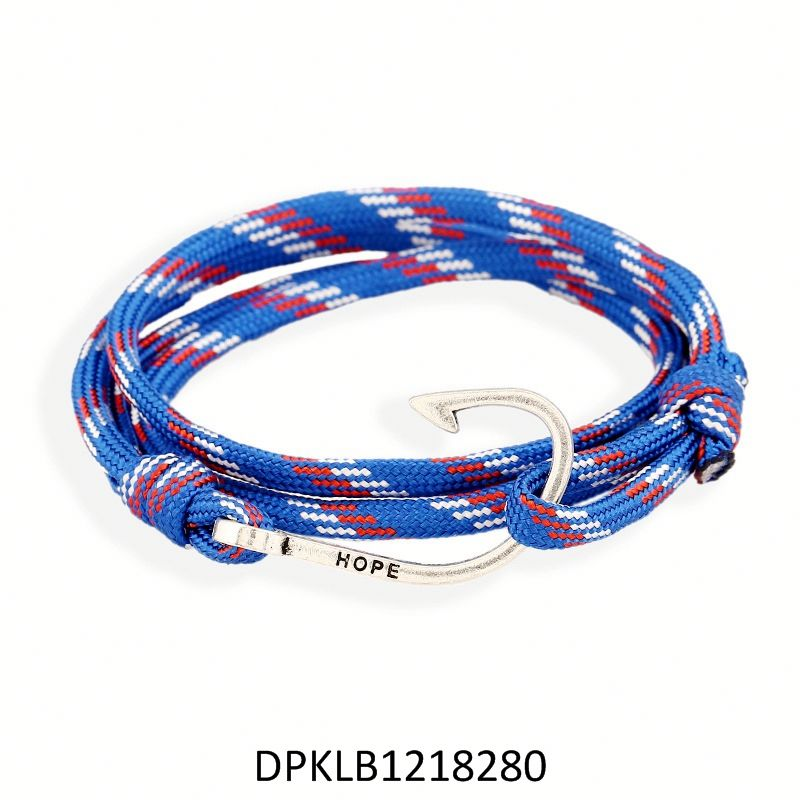 High Quality Hot Sale Viking Steel Clasp Woven Braided Black Genuine Leather Bracelet