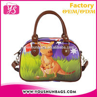 Cute Kangaroo Printed PU Leather Children Handbags Shoulder Bag Wholesale