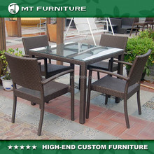 Outdoor Indoor Rattan&Wicker Dining Set with Square Table and 4 Arm Chairs