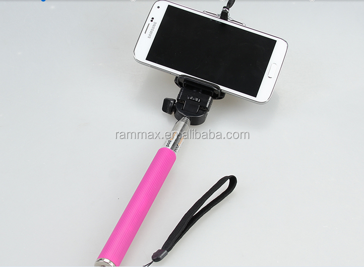 Cable take pole selfie stick with foldable holder for camera
