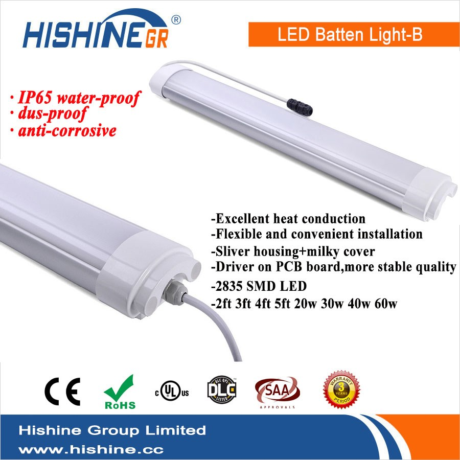 Competitive Price IP65 tri proof lights 40w Batten Light Covers for Warehouse
