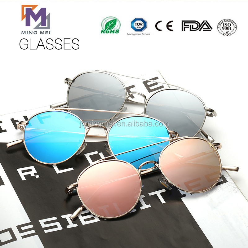 2017 new round shape designed fashionable metal men and ladies sunglasses